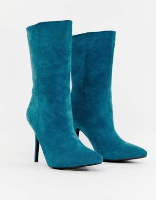 PrettyLittleThing faux suede high heeled ankle boot in teal