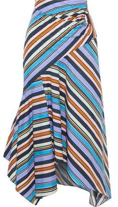 Peter Pilotto Pleated Striped Cotton-Poplin Midi Skirt