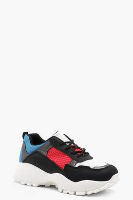 boohoo Colour Block Chunky Sole Trainers