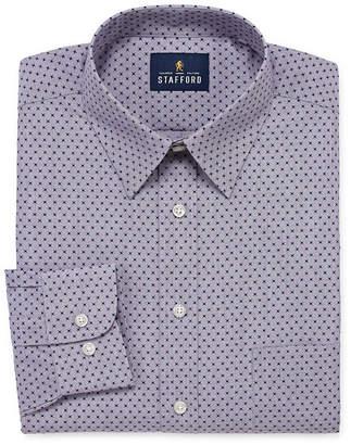 STAFFORD Stafford Travel Stretch Performance Super Shirt Long Sleeve Broadcloth Geometric Dress Shirt-Big And Tall