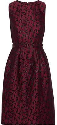 Oscar de la Renta Belted Metallic Jacquard Dress