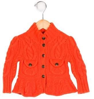 Ralph Lauren Girls' Wool-Blend Cable Knit Cardigan