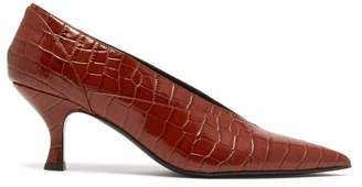 Erdem Rafaella Crocodile Effect Leather Pumps - Womens - Brown