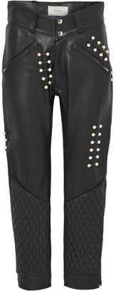 Rodarte Faux Pearl-embellished Leather Pants - Black