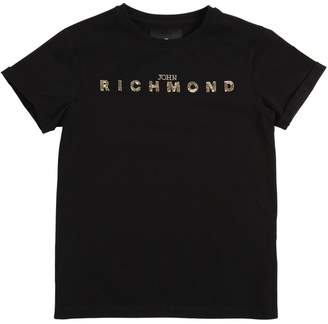 John Richmond Logo Sequined Cotton Jersey T-Shirt