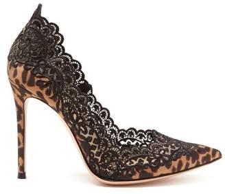 Gianvito Rossi Evie 105 Leopard Print Satin Pumps - Womens - Leopard