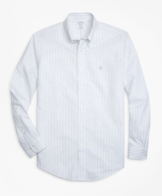 Brooks Brothers Non-Iron Regent Fit Heathered Oxford Stripe Sport Shirt