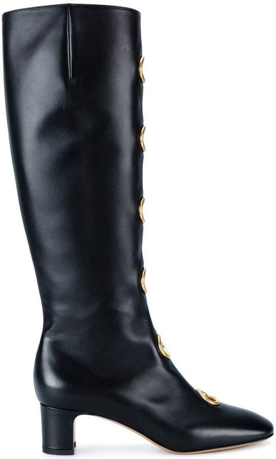Valentino Black Leather eyelet 55 boots