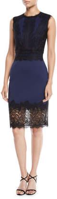 Tadashi Shoji Sleeveless Neoprene & Lace Sheath Dress