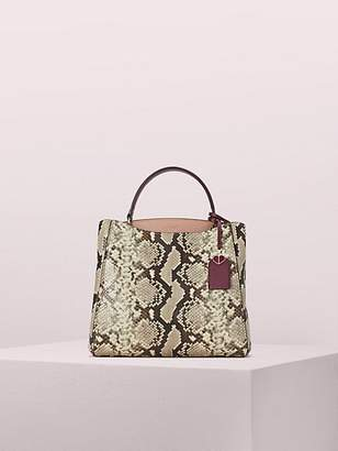 Kate Spade Fleur Embossed Snake Medium Top Handle Satchel, Sangria