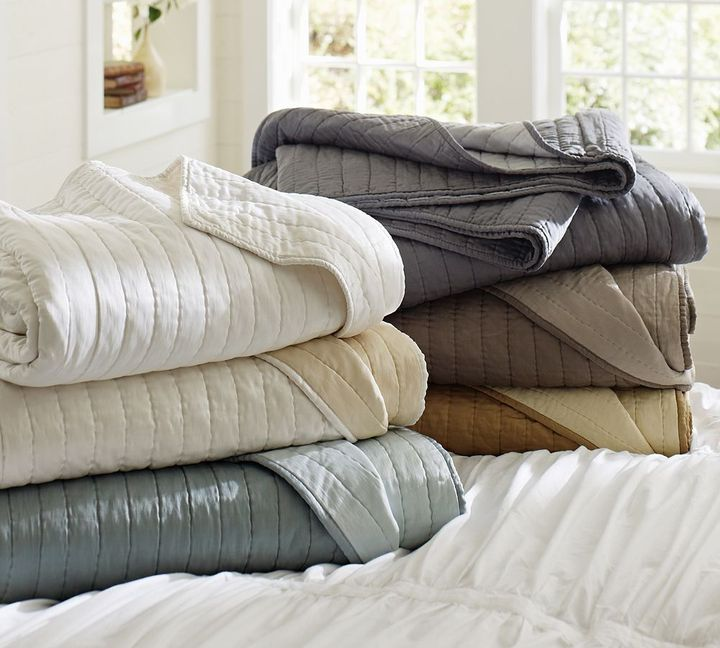 Pottery Barn Silk Channel Two-Toned Quilt & Sham
