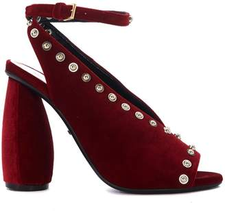 Carven Red Velvet Heeled Sandal With Studs