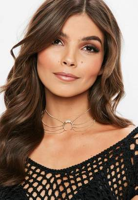 Missguided Gold Diamante Horn Chain Choker Necklace
