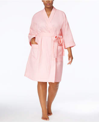 Charter Club Plus Size Waffle-Weave Wrap Robe, Created for Macy's