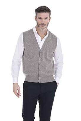 Cashmeren Men's Button Down Vest 100% Pure Cashmere Jersey Knit V-Neck Sleeveless Cardigan (