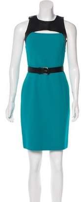 Michael Kors Leather-Paneled Wool Dress