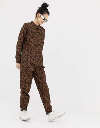 Daisy Street button through boiler suit in leopard print