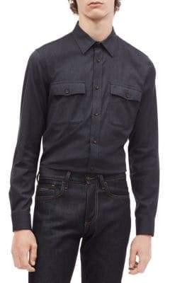 Calvin Klein Modern-Fit Stretch Flannel Button-Down Shirt