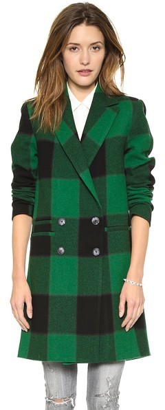 Sea Plaid Overcoat