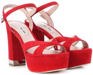 Miu Miu Suede plateau sandals