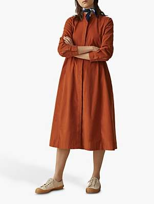 Toast Needlecord Swing Shirt Dress, Persimmon