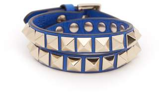 Valentino Rockstud Wraparound Leather Bracelet - Womens - Blue