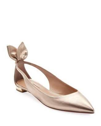 Aquazzura Deneuve Metallic Leather Ballet Flats