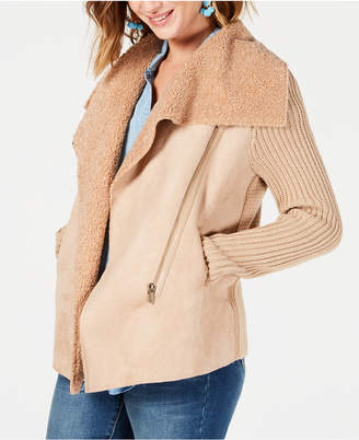 Style&Co. Style & Co Petite Faux-Shearling Knit-Sleeve Jacket