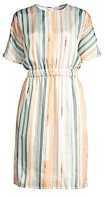 Peserico Women's Multi Watercolor Stripe A-Line Dress