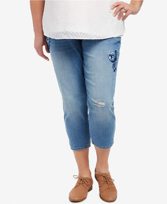 Motherhood Maternity Plus Size Cropped Skinny Jeans, Medium Wash $54.98 thestylecure.com