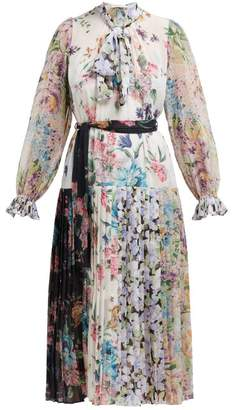 Zimmermann Ninety Six Floral Print Crepe De Chine Midi Dress - Womens - White Multi