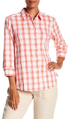 Foxcroft Sue Plaid Crinkle Button Down Shirt