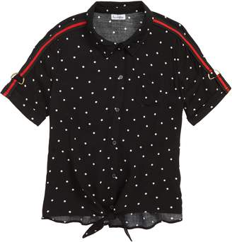 Love, Fire Dot Tie Waist Shirt