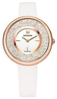 Swarovski Crystalline Pure Watch, Leather Strap, White, Ros