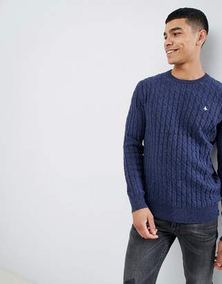 Jack Wills Marlow cable knit wool blend nep sweater in navy