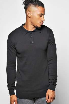 boohoo Long Sleeve Knitted Cotton Polo