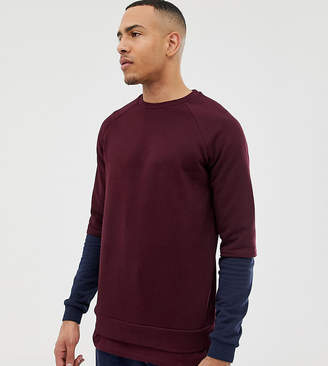 Asos DESIGN TALL Sweatshirt With Hem Extender And Contrast Sleeves In Burgundy