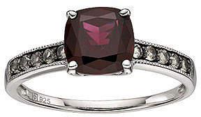 JCPenney FINE JEWELRY Sterling Silver Red Garnet & Smoky Quartz Ring