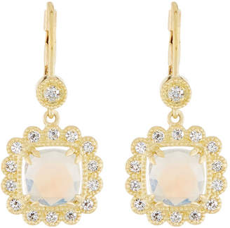 Penny Preville 18k Scalloped Moonstone & Diamond Drop Earrings