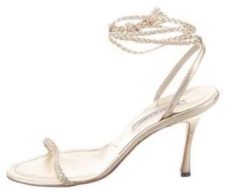 Manolo Blahnik Metallic Lace-Up Sandals