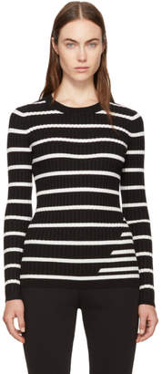 Alexander Wang Black and Ivory Striped Fitted Rib Pullover