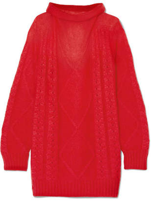 Maison Margiela Oversized Mohair-blend Turtleneck Sweater - Red