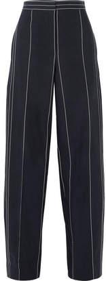 Cédric Charlier Striped Linen And Cotton-blend Wide-leg Pants - Navy