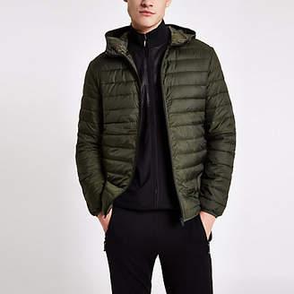 River Island Jack and Jones dark green hooded puffer jacket
