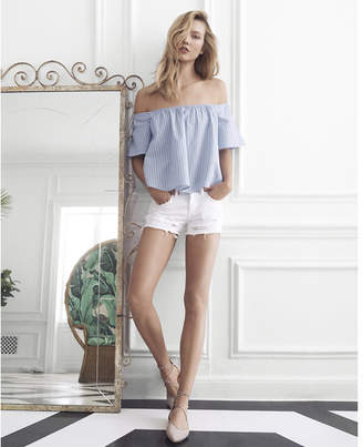 Express Blue Thick Stripe Off The Shoulder Top $49.90 thestylecure.com