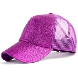Feisette 2018 Glitter Ponytail Baseball Cap Women Snapback Hat Summer Messy Bun Mesh Hats Casual Adjustable Sport Caps