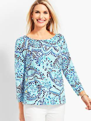 Talbots Beach Mosaic Side-Button Sweater Topper