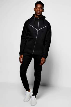 boohoo Skinny Fit Hooded Ribbed Tracksuit
