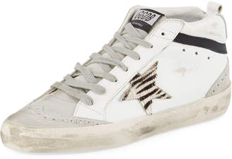 Golden Goose Mid Star Suede & Leather Sneakers with Zebra Patch