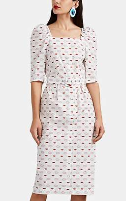 VIVETTA Women's Vasto Lips & Clouds Cotton Poplin Belted Dress - White